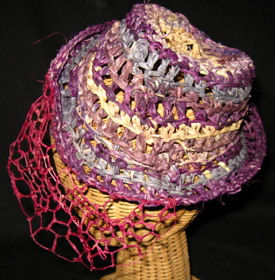 Riding Hat with Veil, crocheted raffia by C. Buffalo Larkin