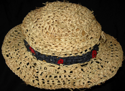 Indian Summer Hat with Polka Dot Band, crocheted raffia by C. Buffalo Larkin