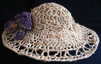 1890s Hat with Iris, crocheted raffia by C. Buffalo Larkin