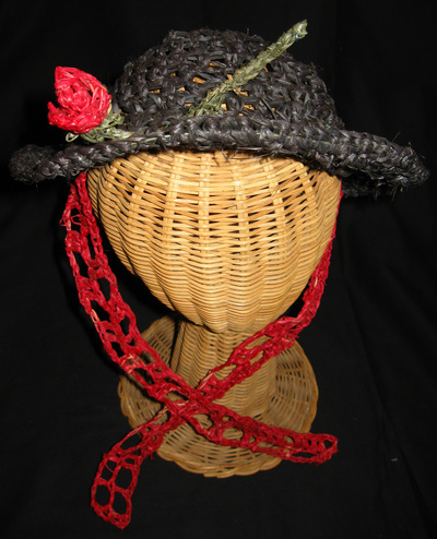 Custom Hat for Rita (black with red rose), crocheted raffia by C. Buffalo Larkin