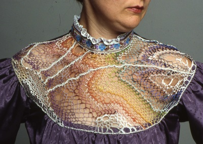 Gibson Girl blouse with needlelace yoke (purple), handmade by C. Buffalo Larkin