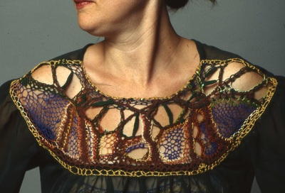 Gibson Girl blouse with needlelace yoke (green), handmade by C. Buffalo Larkin