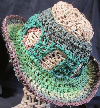 Renaissance Dandy Hat, crocheted raffia by C. Buffalo Larkin