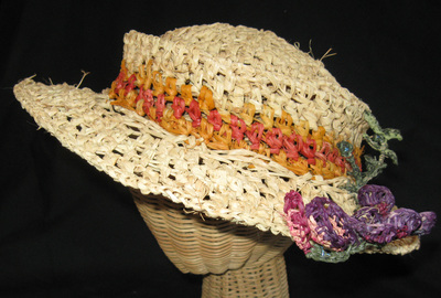 Indian Summer Hat with crocheted wisteria, made by C. Buffalo Larkin