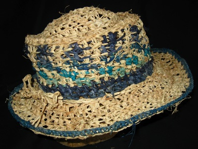 Out of Africa Hat (blue & natural), crocheted raffia by C. Buffalo Larkin