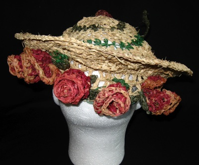 1940s Rose Hat (rear view), crocheted raffia by C. Buffalo Larkin