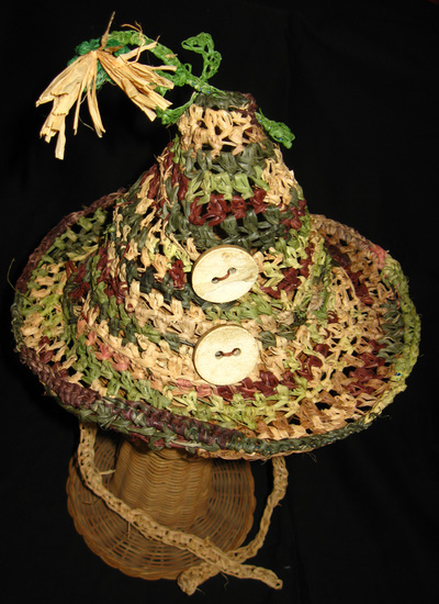 Camouflage Party Hat, crocheted raffia by C. Buffalo Larkin