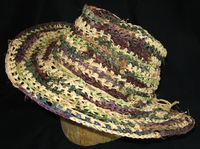 Camouflage Stetson, crocheted raffia by C. Buffalo Larkin