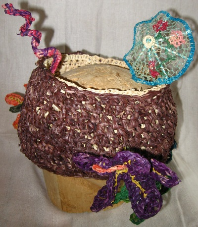 Coconut Cocktail Hat,  crocheted raffia by C. Buffalo Larkin