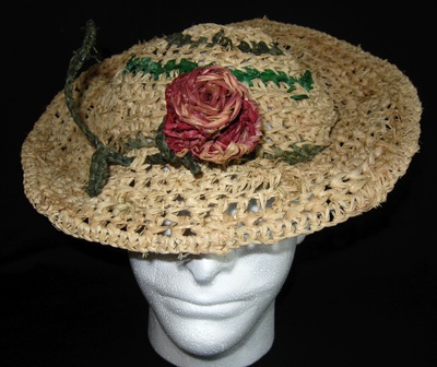 1940s Rose Hat, crocheted raffia by C. Buffalo Larkin