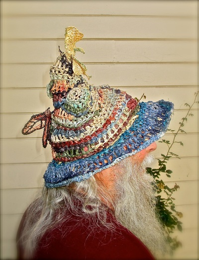Wizard Hat with Butterflies (side view), crocheted raffia by C. Buffalo Larkin