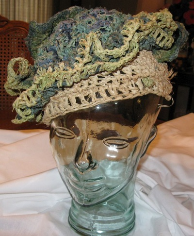 Blackberry Hat, crocheted raffia by C. Buffalo Larkin