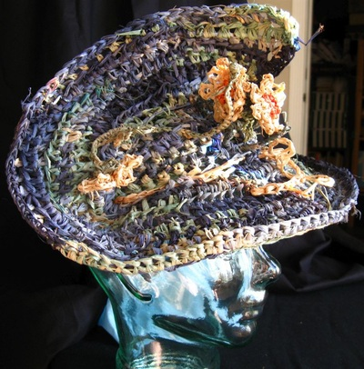 Daisy Hat, crocheted raffia by C. Buffalo Larkin