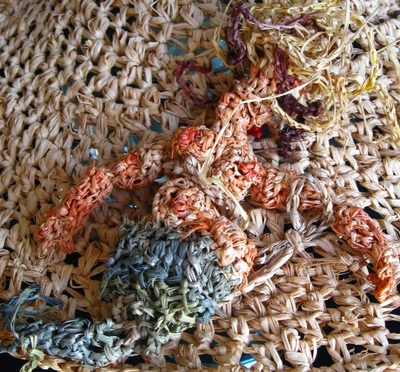 Mermaid detail, crocheted raffia by C. Buffalo Larkin