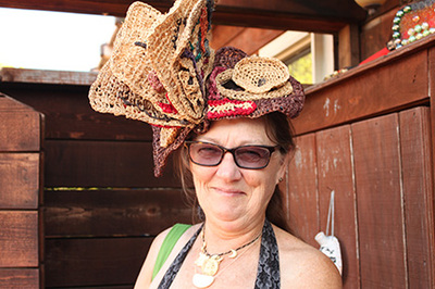 Book Hat, crocheted raffia by C. Buffalo Larkin