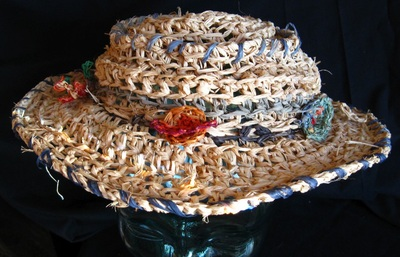 Space Cowgirl Hat, crocheted raffia by C. Buffalo Larkin