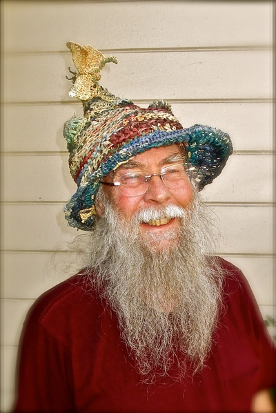Wizard Hat with Butterflies, crocheted raffia by C. Buffalo Larkin