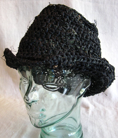 Bill Sikes Hat in black, crocheted raffia by C. Buffalo Larkin