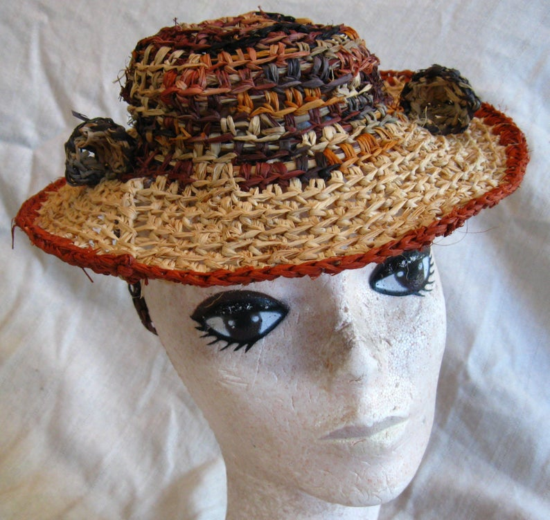 Shepherdess Hat with Cheetah Ears, crocheted raffia by C. Buffalo Larkin