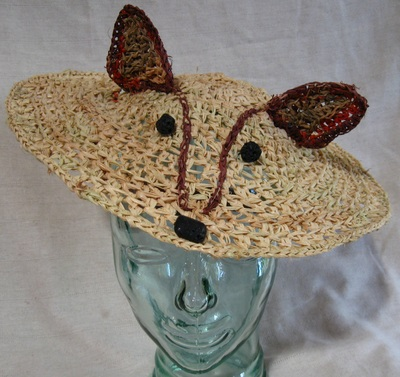 Fox Shepherdess Hat, crocheted raffia by C. Buffalo Larkin