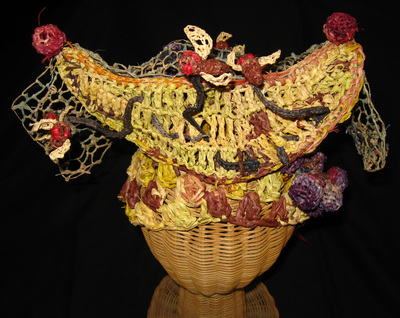 Queen of the Fruit Flies Hat, crocheted raffia by C. Buffalo Larkin