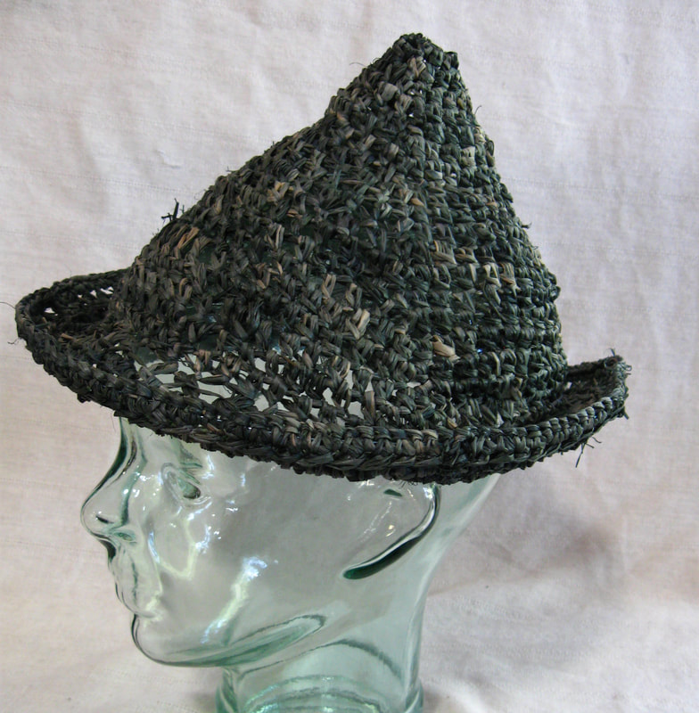 Chico Marx style Hat (dark green), crocheted raffia by C. Buffalo Larkin