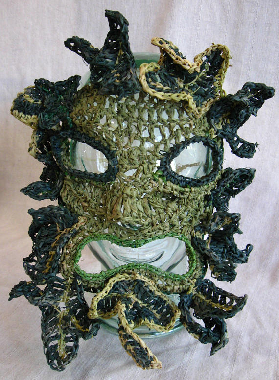 Green Man Raffia Mask