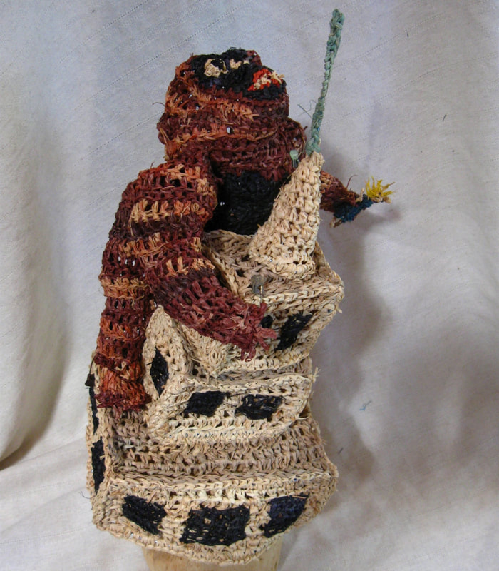King Kong v. the Empire State Building hat, crocheted raffia by C. Buffalo Larkin