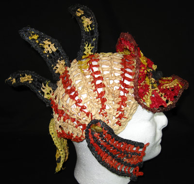 Lionfish Legionnaire Hat, crocheted raffia by C. Buffalo Larkin