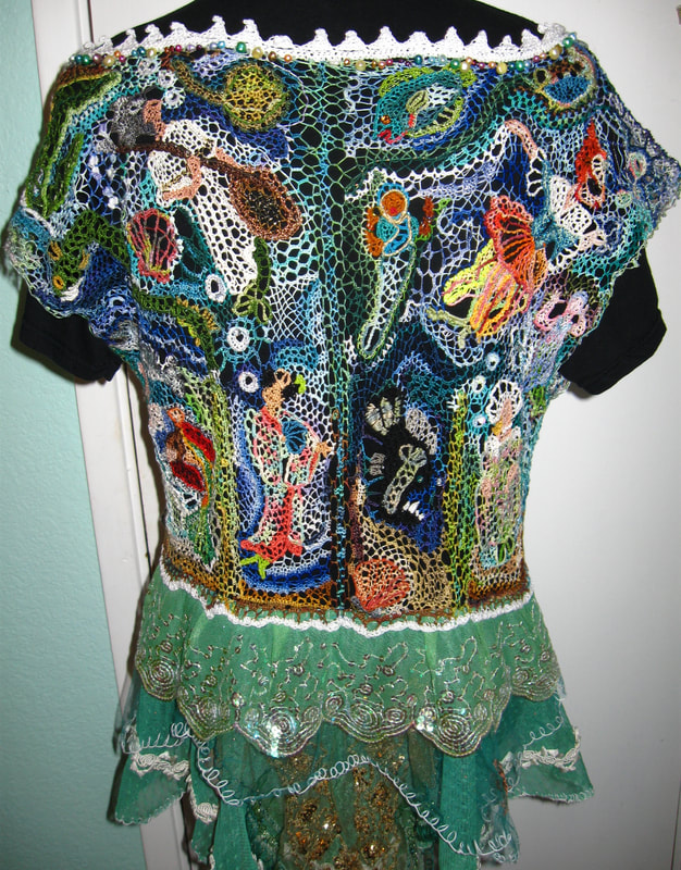 Mermaid needlelace blouse (back), handmade by C. Buffalo Larkin
