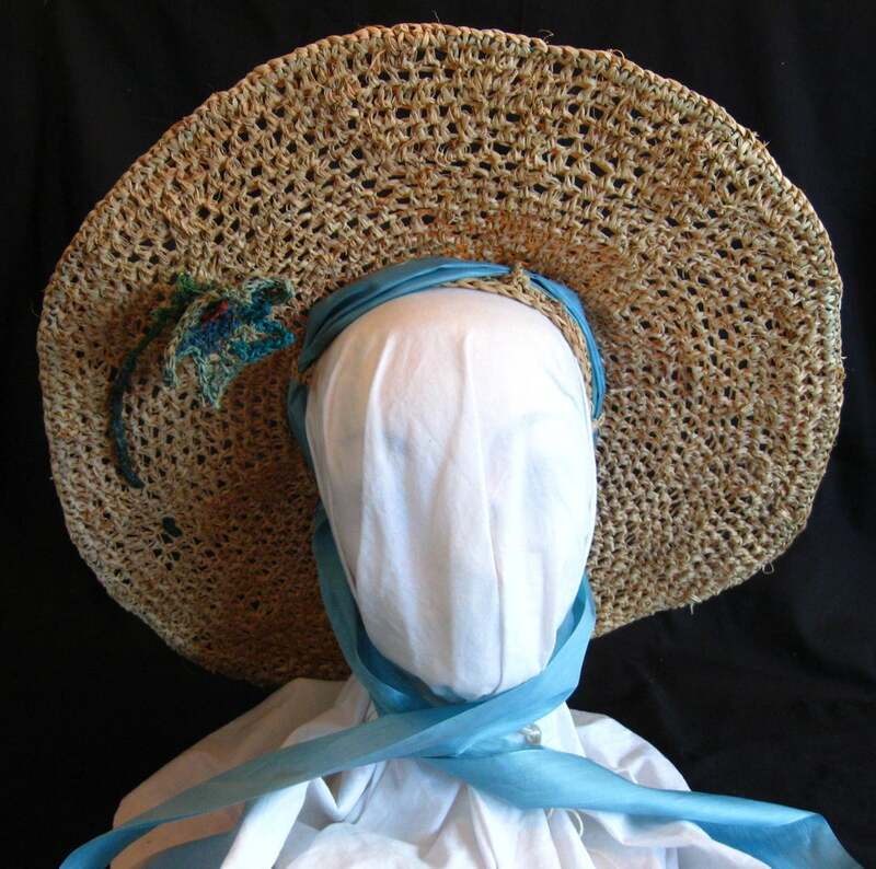 Miss Scarlett Hat with Lily, crocheted raffia by C. Buffalo Larkin