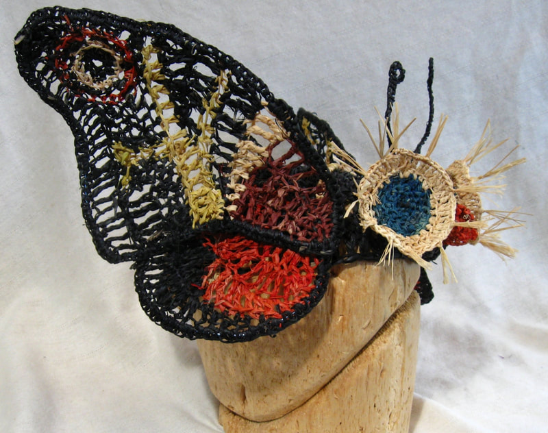 Mothra Hat, crocheted raffia by C. Buffalo Larkin