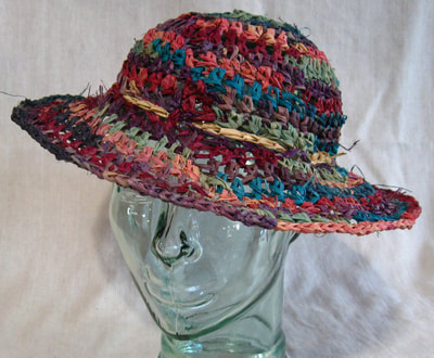 Multicolor Lady Di Hat, crocheted raffia by C. Buffalo Larkin