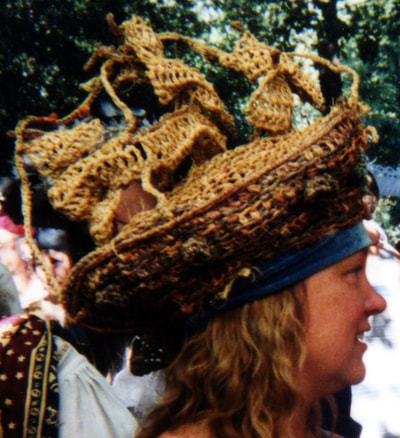 Pirate Ship Hat (starboard side view), crocheted raffia by C. Buffalo Larkin