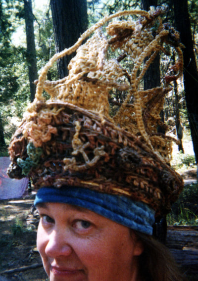 Pirate Ship Hat with Mermaid Figurehead and anchor, crocheted raffia by C. Buffalo Larkin