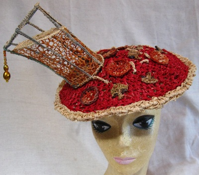 Pizza and Beer Hat, crocheted raffia by C. Buffalo Larkin