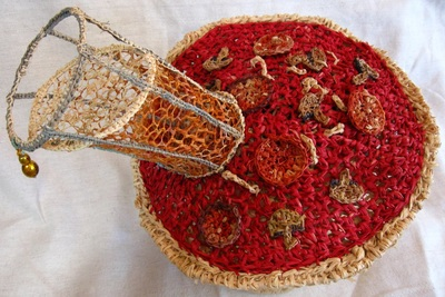 Pizza and Beer Hat (top view), crocheted raffia by C. Buffalo Larkin
