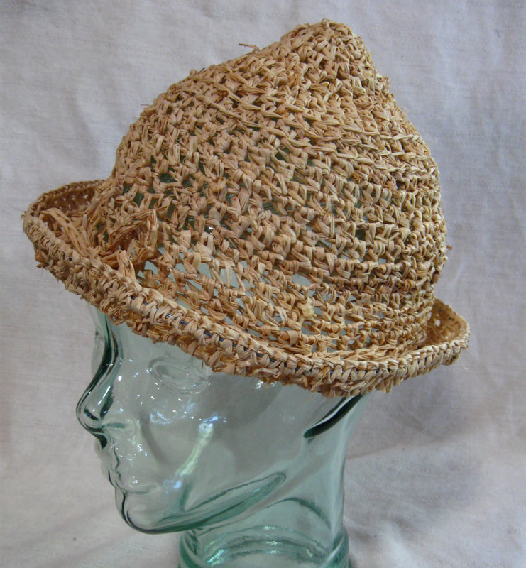 Chico Marx style Hat (plain), crocheted raffia by C. Buffalo Larkin