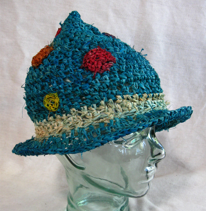 Chico Marx style Hat (blue with polka dots), crocheted raffia by C. Buffalo Larkin