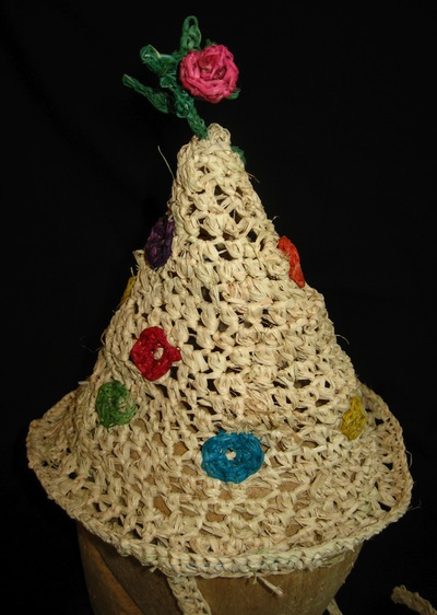 Polka Dot Party Hat with Rose, crocheted raffia by C. Buffalo Larkin