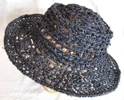 Adam Cartwright Hat in Black, crocheted raffia by C. Buffalo Larkin