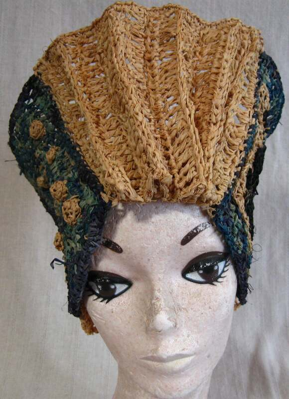 Accordion Shaped Hat, crocheted raffia by C. Buffalo Larkin