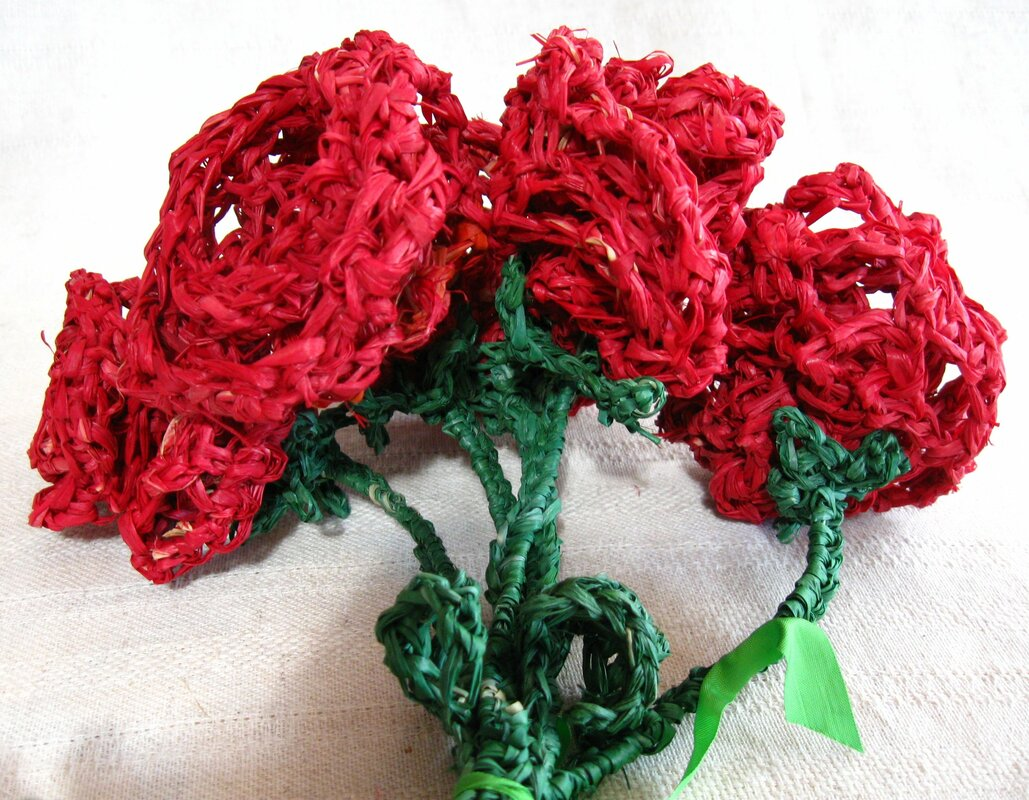 Raffia Red Rose Bouquet