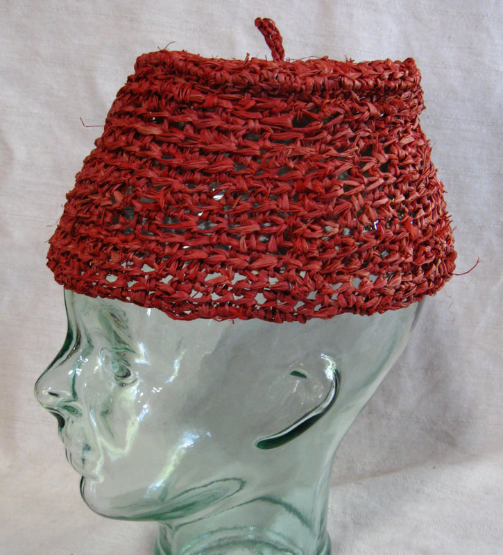 Red Fez, crocheted raffia by C. Buffalo Larkin